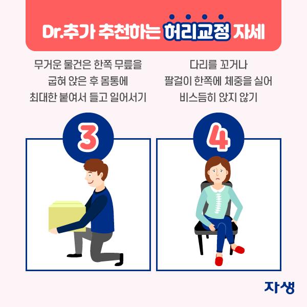 3) 무거운 물건은 한쪽 무릎을 굽혀 앉은 후 몸통에 최대한 붙여서 들고 일어서기 4) 다리를 꼬거나 팔걸이 한쪽에 체중을 실어 비스듬히 앉지 않기 | 자생한방병원·자생의료재단