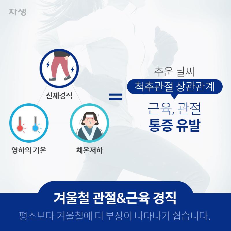신체경직, 영하의 기온, 체온저하 = 추운날씨 척추관절 상관관계, 근육, 관절 통증 유발 | 자생한방병원ㆍ자생의료재단