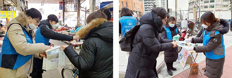 [좌] 청주자생한방병원 최우성 병원장(왼쪽 두번째)과  [우] 잠실자생한방병원 임직원과 자생봉사단원들 임직원이 출근길 시민들에게 마스크를 전달하고 있다
