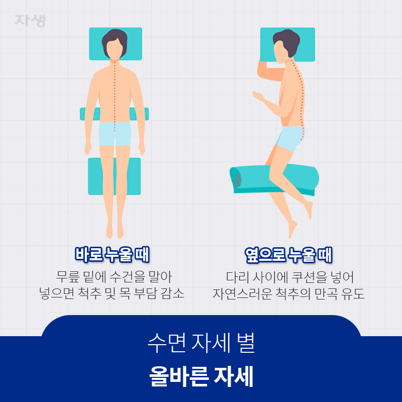 수면 자세 별 올바른 자세   자생한방병원·자생의료재단