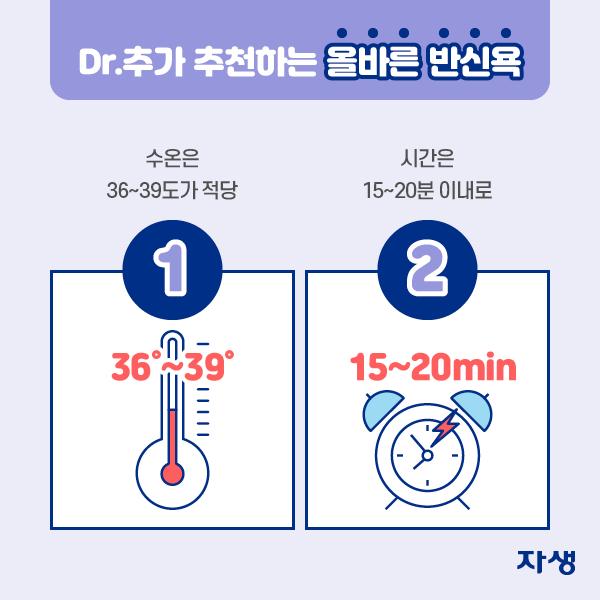 DR.추가 추천하는 올바른 반신욕 1. 수온은 36~39도가 적당 2. 시간은 15~20분 이내로  | 자생한방병원·자생의료재단
